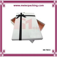 China White paper gift box with ribbon bow/Custom apparel clothing packaging box ME-TB004 on sale