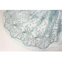 China Blue Embroidery Beading Lace Fabric Bridal Beading Lace Fabric on sale