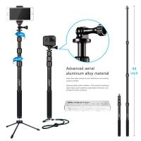 Quality Gopro / Smartphone / Dslr Camera Selfie Stick , HSU 3 Section Telescopic Extension Pole wholesale