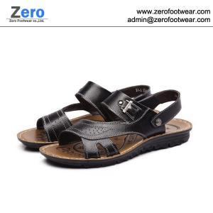 Quality 2014 summer new men sandals men slipper A469 men Cow Split sandals metal button wholesale
