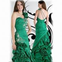 Quality Prom Gown/Evening dress, One-shoulder, Green Satin, with Sheath wholesale