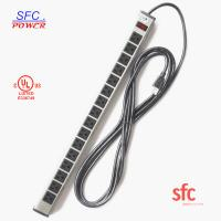 "Quality 24"" Horizontal Metal Multi Socket Extension Lead Grounded 16 Way With Circuit Breaker wholesale"