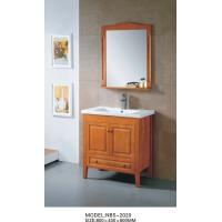 Quality Light brown wood bathroom vanity cabinets , waterproof bathroom basin cabinets wholesale