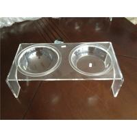 Quality Luxury Clear Acrylic Pet Bowl Stand With Two Bowls For Dog / Cat wholesale