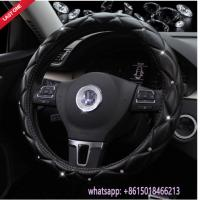 Quality factory offer L size beautiful black leather diamond car steering wheel cover wholesale