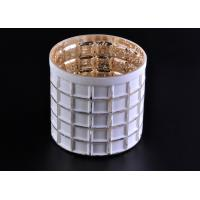 Quality Mercury Electroplated White Sprayed Glass Candle Jars , Square Pattern wholesale