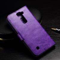 Quality Crazy Horse LG K10 Wallet Case Folio Style Magnet Close With TPU Soft Jelly Case wholesale