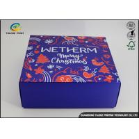 Quality Luxury Christmas Printed Blue Cardboard Gift Boxes / Packaging Paper Box wholesale