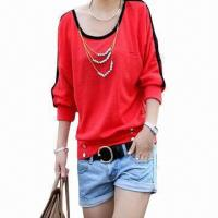 Cheap Bat-wing Sleeve Loose Women's Casual Shirt/Blouse, Made of Cotton for sale