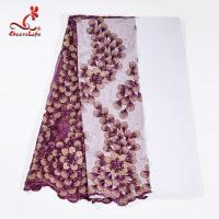 Quality 130CM Polyester Guipure Lace Fabric / African Beaded Flower Lace Embroidery Fabric For Clothing wholesale