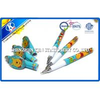 Quality Lovely Cartoon Kids Blue Plastic Ball Point Pens With Cap / Personalized Ballpoint Pen wholesale