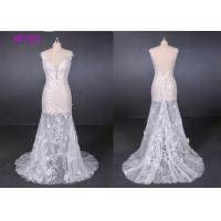 Quality Perspective Lace Female Wedding Dress Slim Sexy Small Tail Brides Wears wholesale