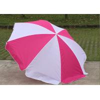 Quality Foldable Pink And White Outdoor Sun Umbrellas Nylon Material With Steel Frame wholesale