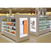 Quality White Wood Makeup Counter Display / Cosmetic Display Shelves Modern Simple Style wholesale