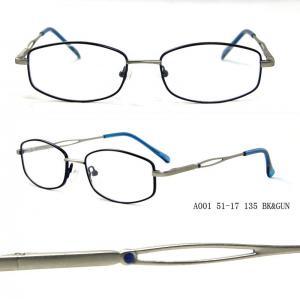 Quality Blue Metal Optical Eyeglasses Rectangular Frames For Women , Full Rim wholesale