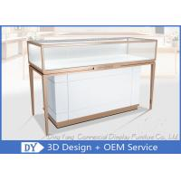 Quality Rose Gold Stainless Steel Frame Jewelry Display Cases With MDF Cabinet wholesale