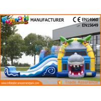 Quality Multiplay Shark Inflatable Bounce Houses / 12 Person Blow Up Water Slide wholesale