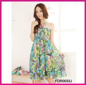 Quality 2013 Latest Designer Floral Print Halter Maxi Beach Dress (FDR0033J) wholesale