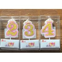 Quality White Candle  Gold painting and Pink line with Cute Crown Number Birthday Candles 0-9 wholesale