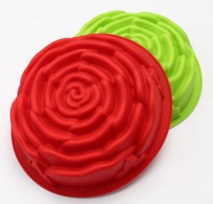 China Large Size Silicone Baking Molds Rose Flower Customized Color on sale
