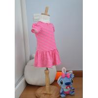 Quality Bow Neck  Girls Pink And White Striped Dress , Young Girls Party Dresses Elastic Waist wholesale