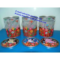 China Different Printed PET Tin Pail with metal Printed  lid and handle from Goldentinbox.com on sale