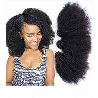 Quality 1B Afro Kinky Curly 100% Brazilian Virgin Hair Bouncy And Soft With Elasticity wholesale