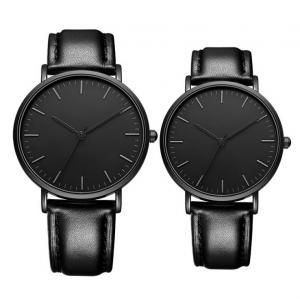 Quality Matte Black Men Quartz Dress Watch With Black Genuine Leather Strap Band wholesale