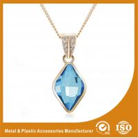 Quality Blue Crystal Silver Chain Necklace Powder Coating Surface Treatment wholesale