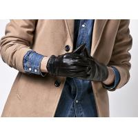 Cheap Customized Fashion Men's Short Leather Gloves With Belt Buckle Cuff Black Color for sale