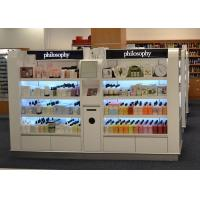 Quality Wooden Island Shelf Cosmetic Display Case White Coating Decorated With LED Light wholesale
