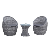 Quality Round Width 440mm Height 420mm Rattan Glass Top Coffee Table Easy To Clean wholesale