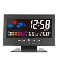 China Digital Thermometer Hygrometer weather station Alarm Clock temperature gauge Colorful LCD Calendar Vioce-activated on sale