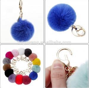 Quality Promotional rabbit fur pom pom fur ball for bag and mobile phone pendant wholesale