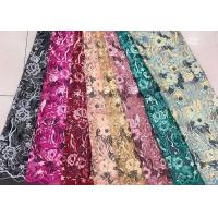 China Gold Silver Sequin Fabric , Multi Colored Embroidered Floral Dress Lace Fabric For Gown on sale