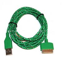 Quality Durable 30 Pin To USB Micro Usb Sync Cable 3ft Covered With Green Nylon wholesale