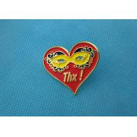 Quality Personalised Die Casting Soft Enamel Pin , Gold Epoxy Pin Badge Heart Shaped wholesale