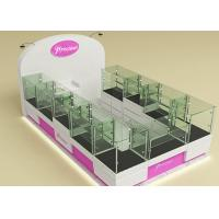 Cheap Fully Lockable Wood Glass Jewelry Showcase Kiosk , Retail Commercial Display Cases for sale