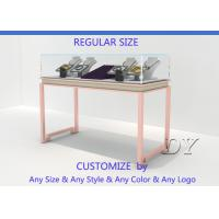 Cheap Gorgeous Rose Gold Stain Steel Glass Jewelry Showcases For Sale for sale