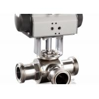 Quality 4 Sanitary 3 Way Ball Valve , T - Port Tri - Clamp Pneumatic Ball Valve wholesale