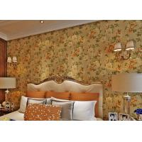 Quality Removable Strippable Country Style Wallpaper , Deep Embossed PVC Flower Wall Covering wholesale