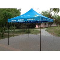 Quality Blue Steel Canopy 3x3 Pop Up Gazebo Hand Printing For Beach Advertising Trade Show wholesale
