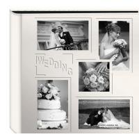"Quality Collage Frame Embossed ""Wedding"" Sewn Leatherette Cover Photo Album, Ivory wholesale"