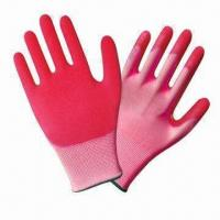Quality Polyester latex foam coated hand gloves with 13 gauge pink polyester shell wholesale