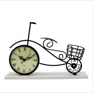 China Vintage Metal Crafts black Decorative Metal Bicycle Table Clock on sale