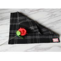 """59"""" Width Tartan Wool Fabric Black Background With White Line 40% Polyester"""
