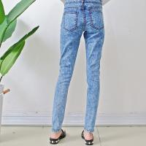 Quality Size10-12-14-16-18 damaged patch women woven denim slim jeans wholesale