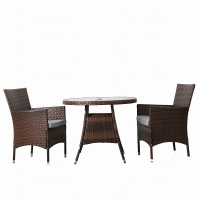 Buy cheap Weatherproof Rattan Furniture Set Chair Round Glass Table from wholesalers