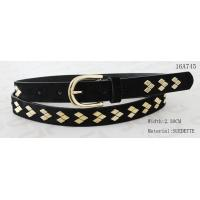 Fake Suede Ladies Fashion Belts Ln Gold Color Of Rhombus Shape Metal & Buckle
