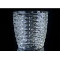 Quality 310Ml Capacity Crystal Candle Holder / Glass Tea Light Holders With Woven Pattern wholesale